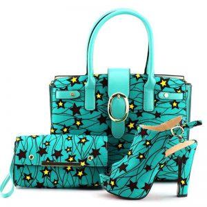 Beautiful BlueGreen Ankara handbag and shoe combo