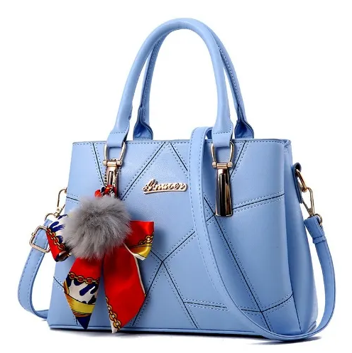 Hand bag with Soft Fur in Sky Blue Colour