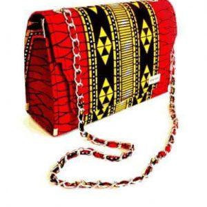 Red and Yellow Patterned Ankara Handbag