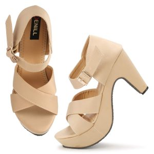 Light brown Thick heels female shoes