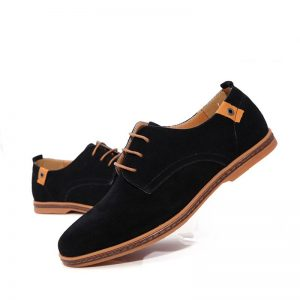 Men suede Lace-Up Shoes(black with brown sole)