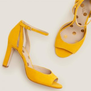 Yellow flat body Thick heels female shoes
