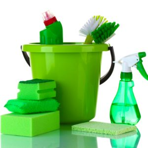 Cleaning chemicals of green color