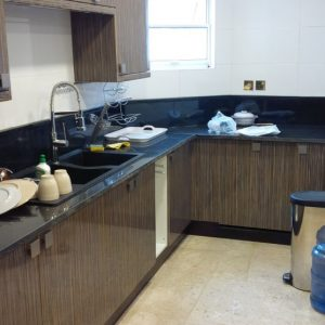 kitchen with dispenser container