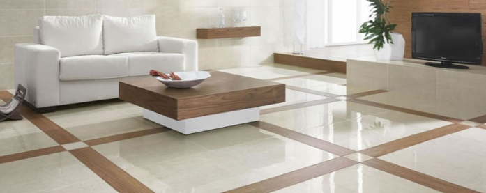 sitting room with center table and floor tiles